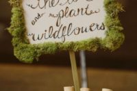 32 moss sign and wedding favors