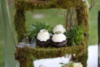 33 moss cupcake stand with succulents and florals