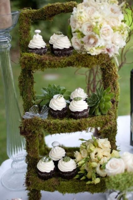 moss cupcake stand with succulents and florals