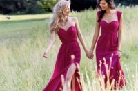 33 raspberry-colored mix and match bridesmaids' dresses
