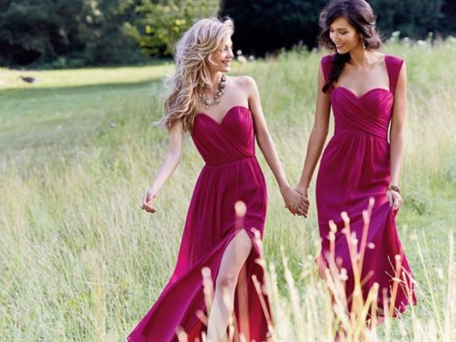 raspberry-colored mix and match bridesmaids' dresses