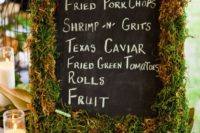 34 moss chalkboard menu with cottn and magnolia leaves