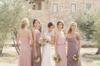 34 pink and dusty lavender mix and match bridesmaids' dresses