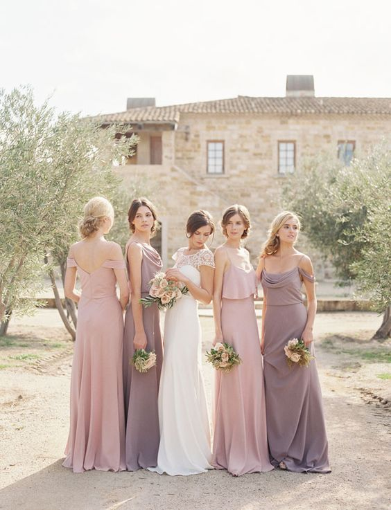 pink and dusty lavender mix and match bridesmaids' dresses