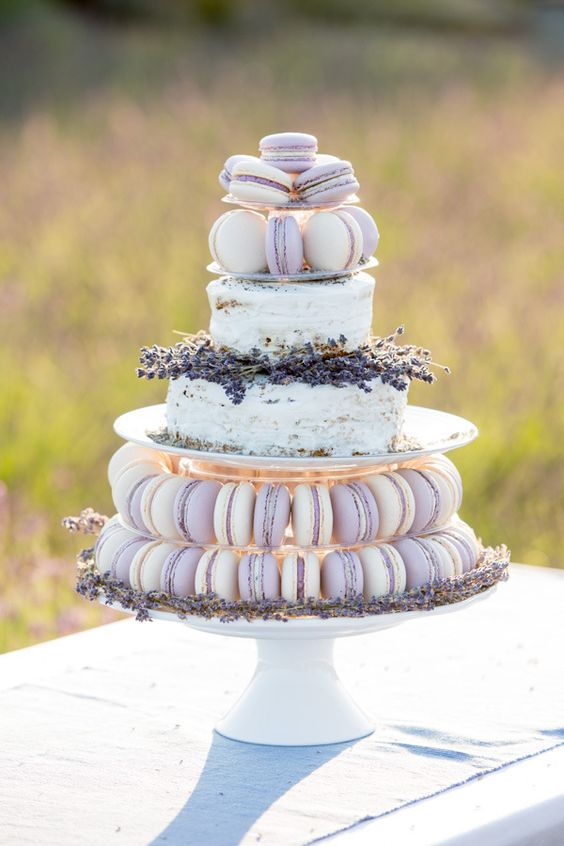 semi naked wedding cake and lavender macarons