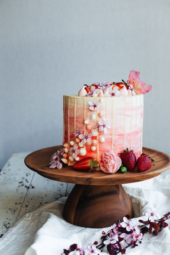 strawberry and vanilla bean cake with flowers