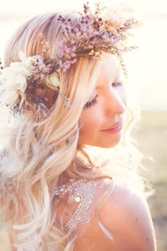 wildflower crowns are ideal for a spring boho wedding