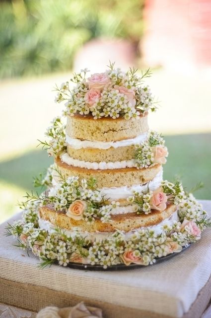 beautiful naked cake with spring flowers