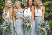 35 bridesmaids' separates with long grey skirts and white or grey tops