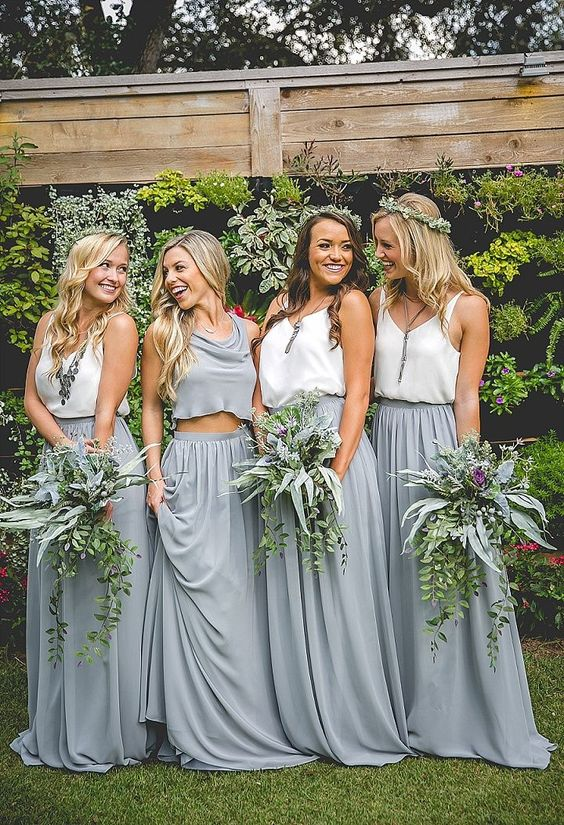 bridesmaids' separates with long grey skirts and white or grey tops