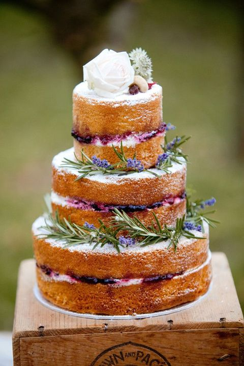 naked wedding cake with rosemary and lavender