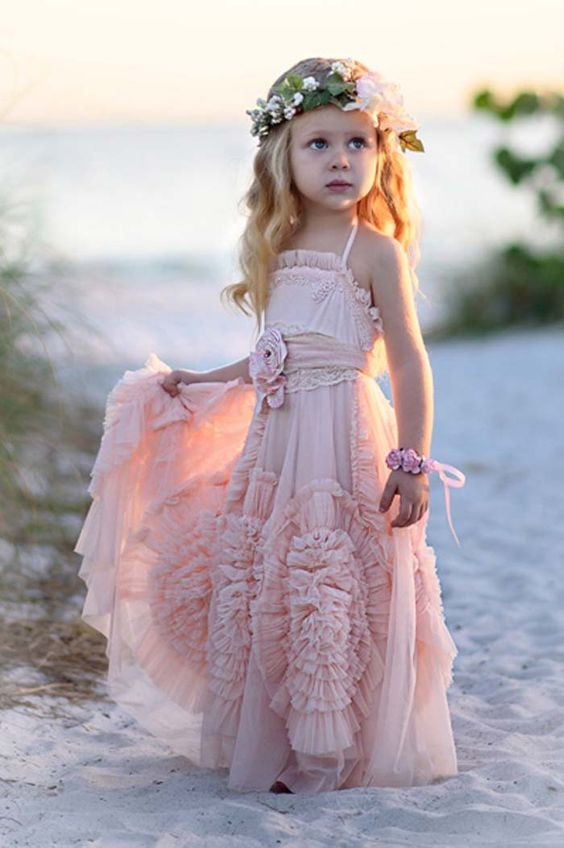 pink boho strap flower girl dress with large appliques