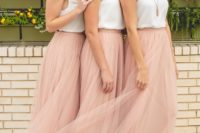 36 fancy looks with white tops and blush maxi skirts