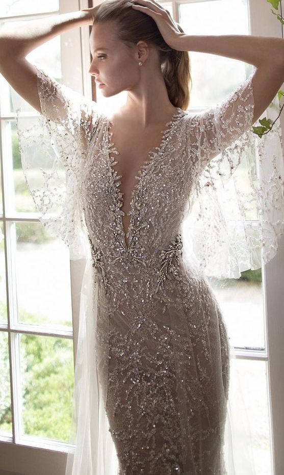 glamorous drape sleeve silver embellished wedding dress by Berta Bridals