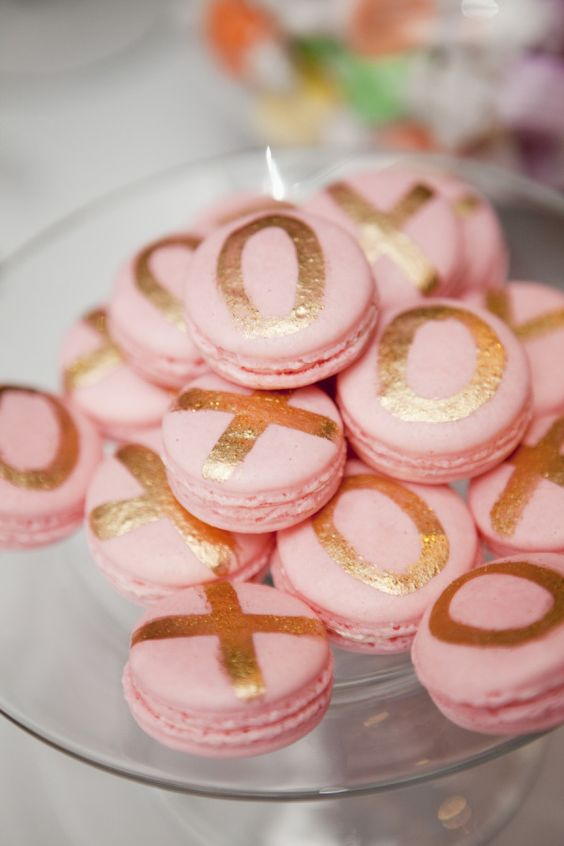 pink macarons with gold leaf XO