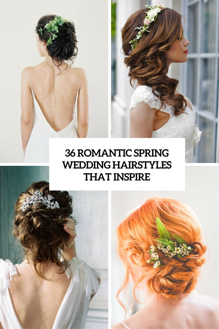 36 romantic spring wedding hairstyles that inspire weddingomania romantic spring wedding hairstyles that inspire cover junglespirit Image collections