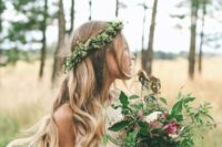 37 greenery and baby's breath crown and a textural wedding bouquet with lots of greenery
