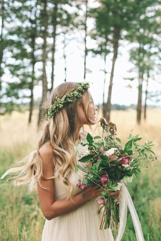 greenery and baby's breath crown and a textural wedding bouquet with lots of greenery