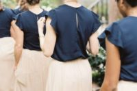 37 navy tops with ruffled sleeves and blush maxi skirts