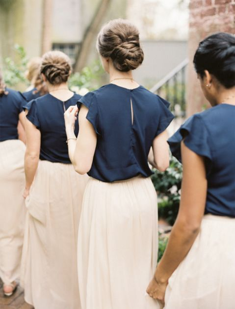 navy tops with ruffled sleeves and blush maxi skirts