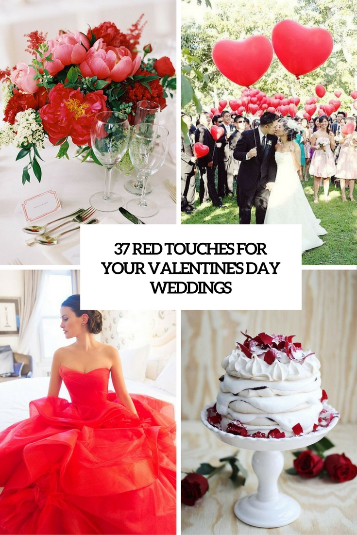 red touches for your valentine's day wedding cover