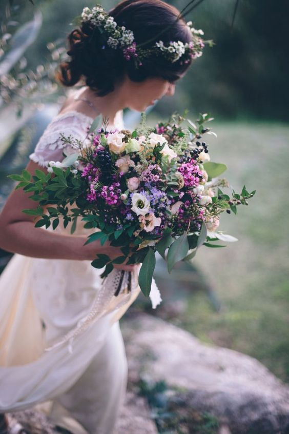 cute wildflower bouquet and crown for a boho bride