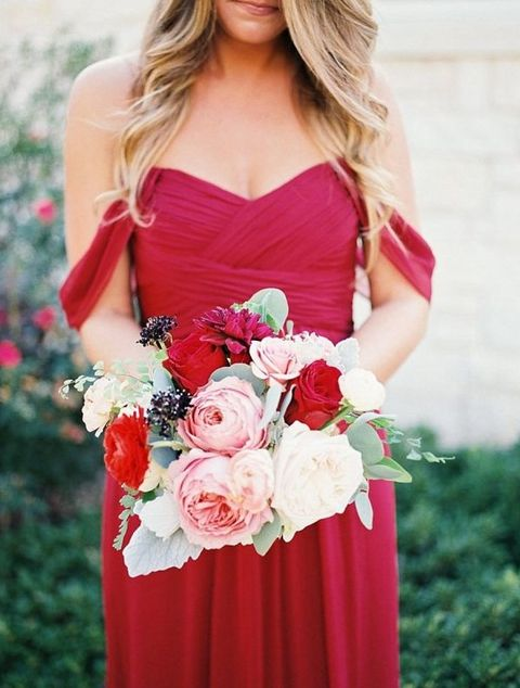 off the shoulder red bridesmaid's dress