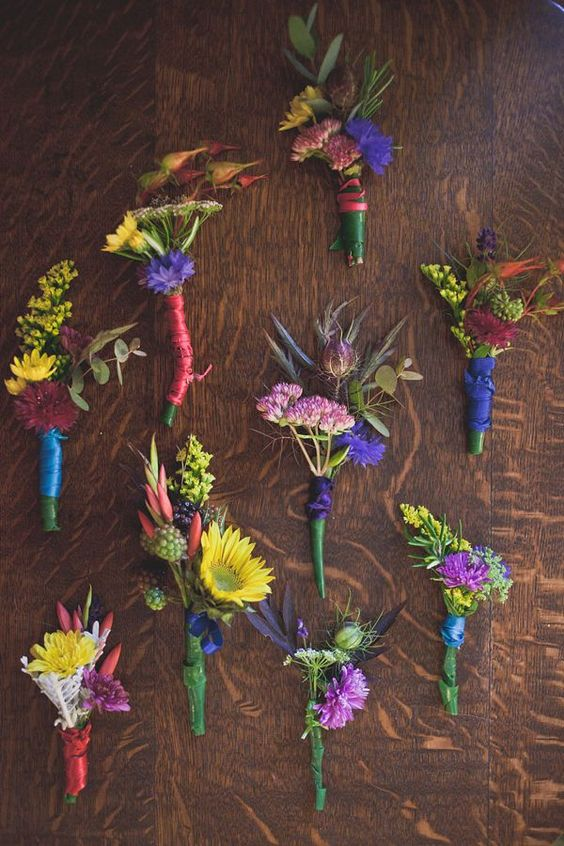 colorful boho wildflower boutonnieres