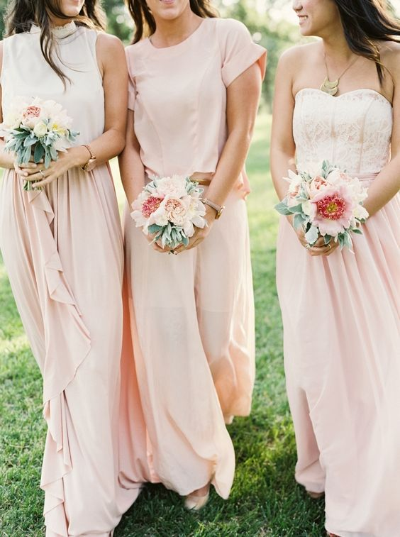 flowy blush maxi skirts and strapless tops