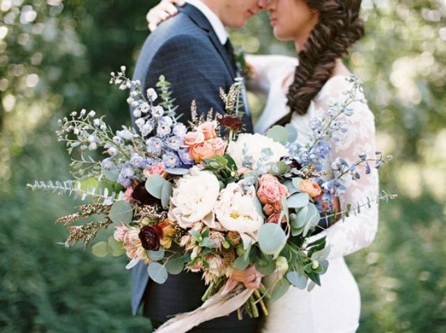 pastel-colored oversized bouquet for a boho bride