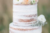 39 semi naked wedding cake topped with pastel flowers and greenery