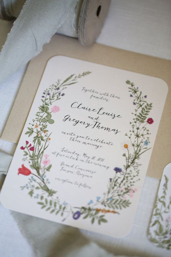 colorful wildflower wedding stationery
