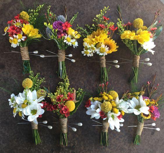 mismatched wildflower boutonnieres