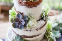 45 semi naked cake with flowers and succulents
