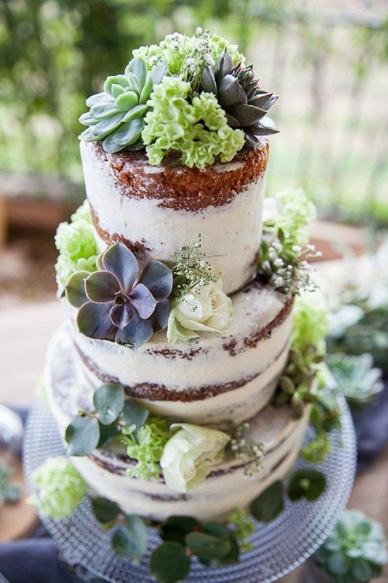 semi naked cake with flowers and succulents