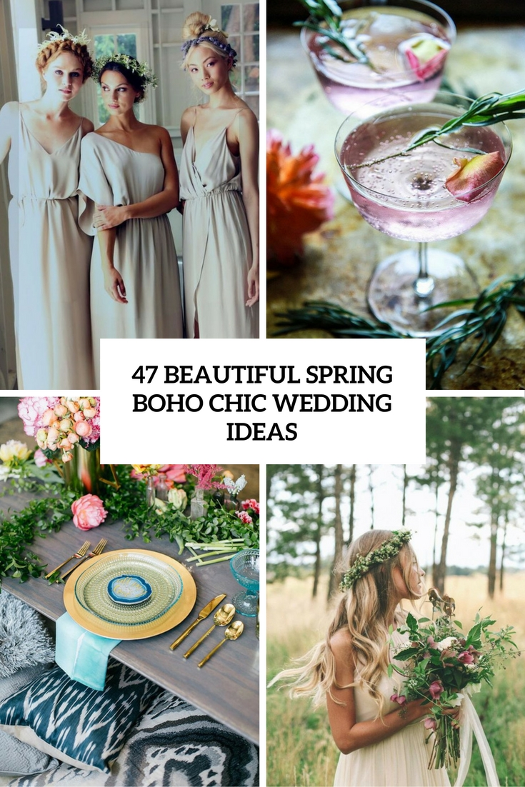 beautiful spring boho chic wedding ideas cover