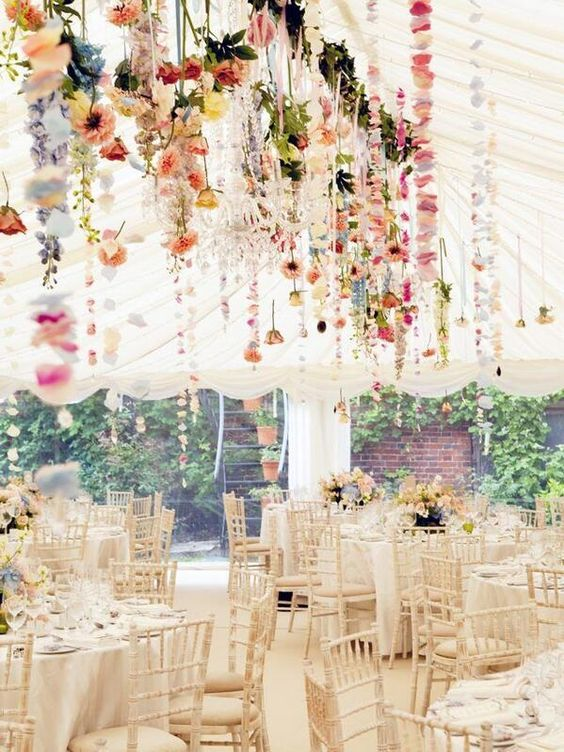 wildflowers hanging all over the reception will create a cool ambience