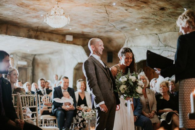 This wedding is unusual for several reasons, it's inspired by Shakespeare and the cermony took place in a cave