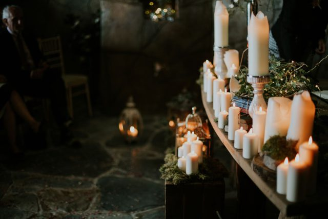 A lot of books and candles were used for decor for this reason, and you can also see woodland touches