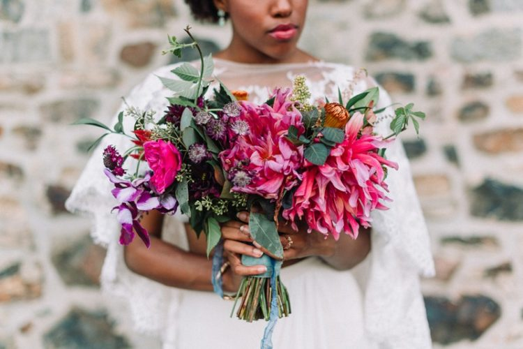 The bridal bouquet is super colorful and textural, just like the rest of the shoot