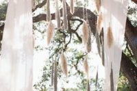 02 airy fabric and pampas hangings for the wedding altar
