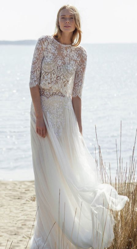 1375961357b bohemian chic lace top quarter length sleeve wedding dress with flowy tulle  skirt