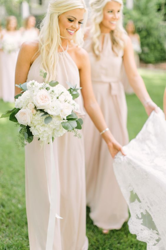 neutral halter neckline bridesmaids' dresses are awesome for spring