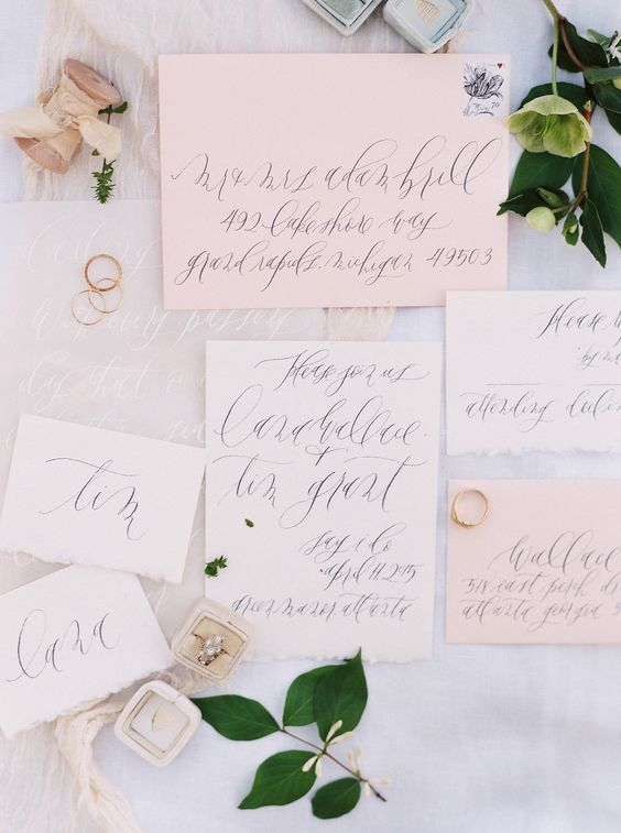 tender blush wedding stationary with calligraphy