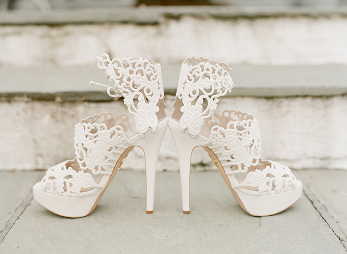 I love these whimsy lace heels that the bride chose