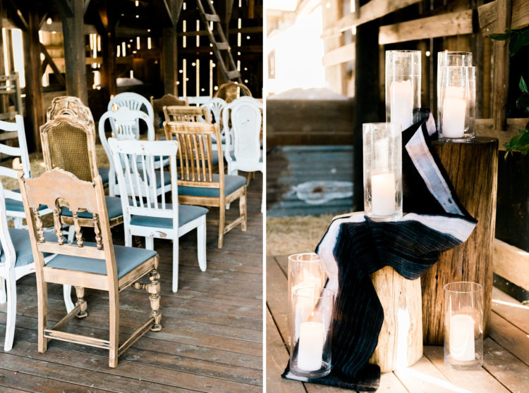 Mismatching chairs and wood logs will add a rustic feel to your wedding