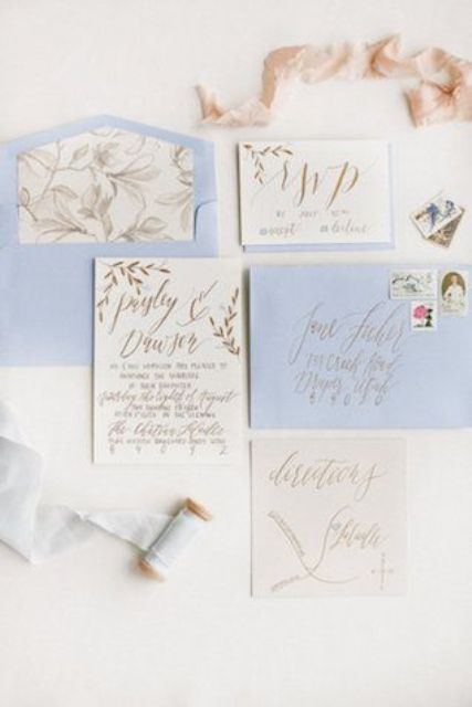 powder blue and gold calligraphy wedding invitations