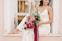 04 The second bridal look was done with a simple spaghetti strap maxi dress and modern jewelry, simple loose hair