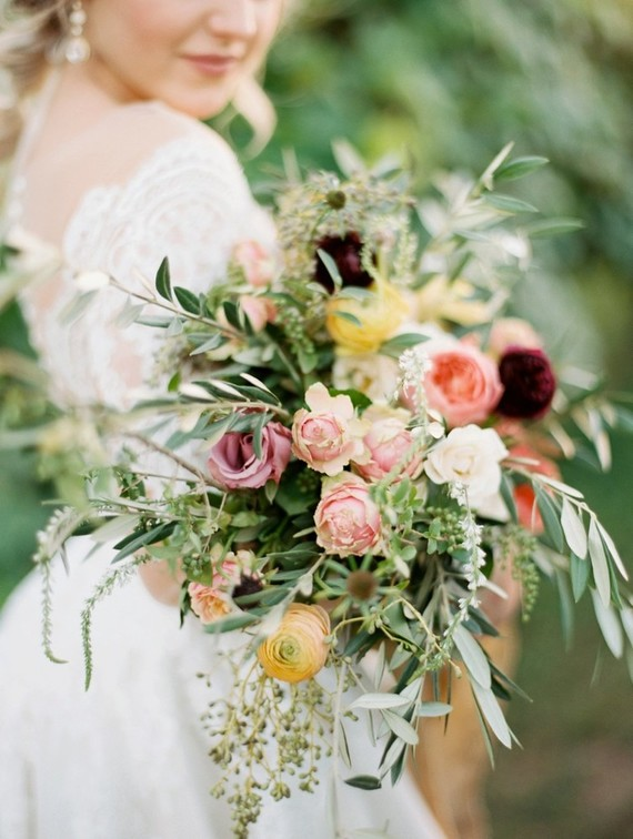 The wedding bouquet was a relaxed, messy and wildflower-inspired one