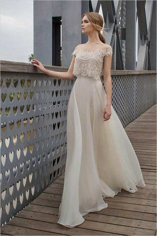 710cdd55a45 bridal separate with illusion off the shoulder lace top and a flowy skirt